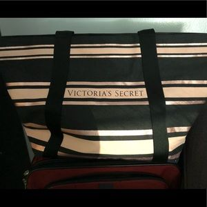 VS black and pink striped tote - Brand New